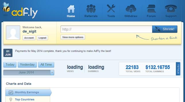 Mencari uang lewat internet dengan adfly